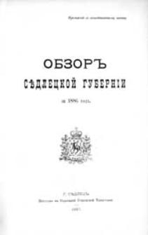 """Obzor'' Sědleckoj guberníi za 1886 god"""" : (priloženie k vsepoddannejšemu otčetu)"""