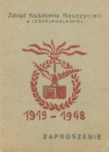 """Zaproszenie na I Ogólny Zjazd """"Leśniaków"""" w dn. 29 i 30 czerwca 1948 roku w Leśnej Podlaskiej w gmachu Liceum Pedagogicznego"""