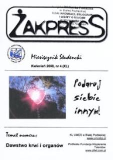 Żakpress : miesięcznik studencki R. 6 (2008) nr 4 (XL) kwiecień