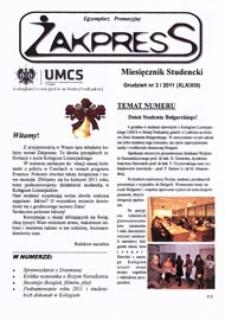 Żakpress : miesięcznik studencki R. 9 (2011) nr 3 (XLXIXIII) grudzień