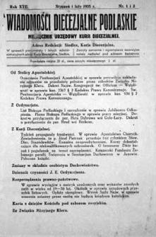Wiadomości Diecezjalne Podlaskie R. 17 (1935) nr 1-2