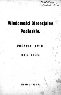 Wiadomości Diecezjalne Podlaskie R. 18 (1936) skorowidz