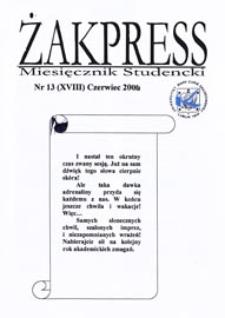 Żakpress : miesięcznik studencki R. 4 (2006) nr 13 (XVIII) czerwiec