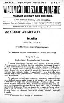 Wiadomości Diecezjalne Podlaskie R. 18 (1936) nr 7-8-9