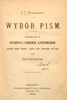Studya i szkice literackie : poprzedzone wstępem krytycznym i opatrzone spisem chronologicznym dzieł autora