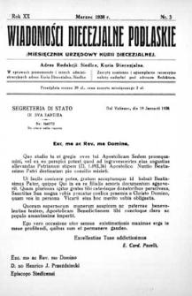 Wiadomości Diecezjalne Podlaskie R. 20 (1938) nr 3