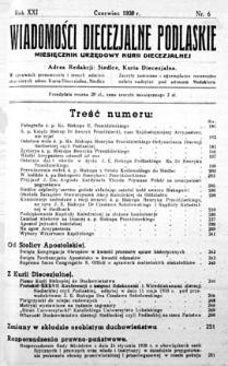 Wiadomości Diecezjalne Podlaskie R. 21 (1939) nr 6