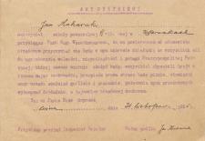 Odpis przysięgi zawodowej Jana Makaruka nauczyciela szkoły powszechnej w Sarnakach