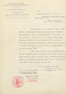 Pismo o powierzeniu Janowi Makarukowi od dnia 1 września 1938 r. czynności instruktora oświaty pozaszkolnej w Inspektoracie Szkolnym w Białej Podlaskiej aż do odwołania