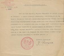 Zaświadczenie o działalności Jana Makaruka w tajnym nauczaniu na Podlasiu