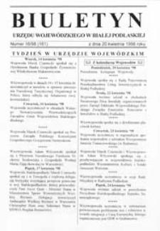 Biuletyn Urzędu Wojewódzkiego w Białej Podlaskiej R. 5 (1998) nr 16 (161)