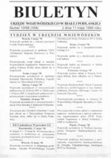 Biuletyn Urzędu Wojewódzkiego w Białej Podlaskiej R. 5 (1998) nr 19 (164)