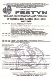 """Festyn """"Ekologia, teatr i tradycja łączą pokolenia"""" 17 września 2005 r. : afisz"""