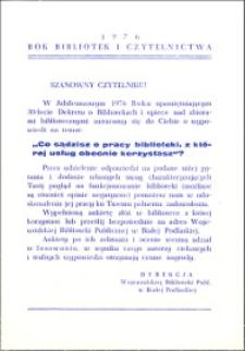 [Ankieta] : [Inc.:] Rok bibliotek i czytelnictwa 1976 - Szanowny czytelniku! [...]