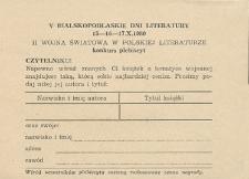 V Bialskopodlaskie Dni Literatury 15-16-17.X.1980 : II wojna światowa w polskiej literaturze : konkurs - plebiscyt