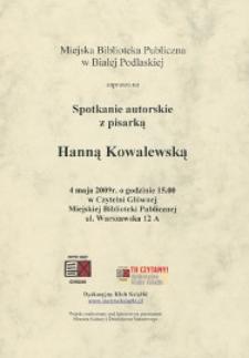 Druk okolicznościowy : Spotkanie autorskie z pisarką Hanną Kowalewską