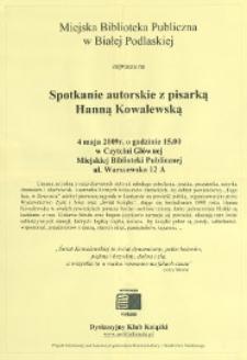 [Afisz] : Spotkanie autorskie z pisarką Hanną Kowalewską, 04.05.2009 r.