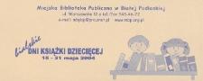 Ulotka : Bialskie Dni Książki Dziecięcej, 15-31 maja 2004