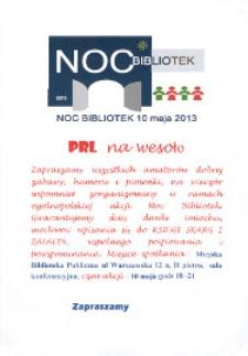 Plakat : Noc bibliotek : PRL na wesoło, 10 maja 2013 r.