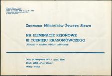 """Zaproszenie : [Inc.:] Eliminacje rejonowe III Turnieju Krasomówczego """"Książka źródłem wiedzy politycznej"""", 27.11.1977 r."""
