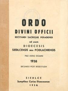 Ordo Divini Officci Recidanti Sacrique Peragendi ad usum Dioeceseos Podlachiensis seu Janoviensis pro Anno Domini 1938