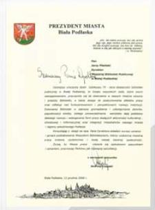 List gratulacyjny starosty bialskiego z okazji 70-lecia Miejskiej Biblioteki Publicznej w Białej Podlaskiej