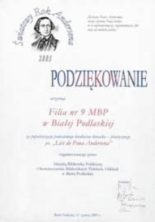 """Podziękowanie otrzymuje Filia nr 9 MBP w Białej Podlaskiej za popularyzację konkursu literacko-plastycznego ph. """"List do Pana Andersena"""""""