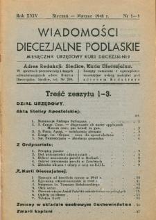 Wiadomości Diecezjalne Podlaskie : organ urzędowy Kurii Diecezjalnej R. 24 (1948) nr 1-3