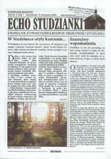 Echo Studzianki : kwartalnik Stowarzyszenia Rozwoju Miejscowości Studzianka R. 1 (2009) nr 1