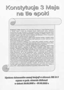 Afisz : [Inc.] Konstytucja 3 Maja na tle epoki : wystawa dokumentów na tle epoki w zbiorach Filii nr 2 MBP, 29.02-7.05. 2002 r.