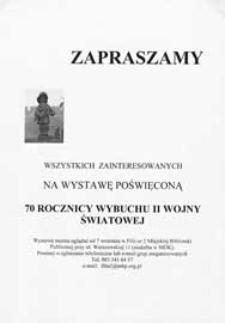 """Ulotka : [Inc.:] Zapraszamy na wystawę poświęconą """"70 rocznicy wybuchu II wojny światowej"""", 2009"""