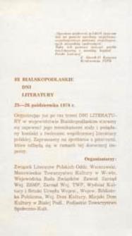 Druk ulotny : [Inc.:] Bialskopodlaskie Dni Literatury 25-26 października 1978 r.