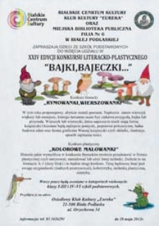 """Druk ulotny : [Inc.:] XIV edycja Konkursu Literacko-Plastycznego """"Bajki, bajeczki..."""""""