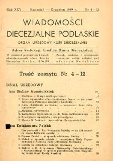 Wiadomości Diecezjalne Podlaskie : organ urzędowy Kurii Diecezjalnej R. 25 (1949) nr 4-12