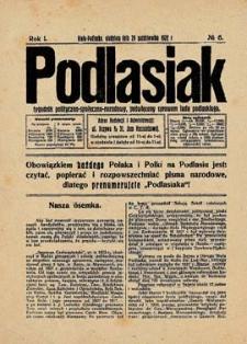 Podlasiak : tygodnik polityczno-społeczno-narodowy, poświęcony sprawom ludu podlaskiego R. 1(1922) nr 6