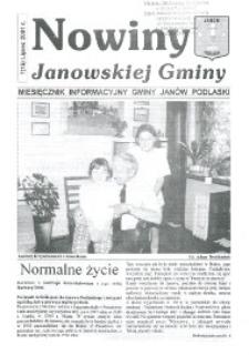 Nowiny Janowskiej Gminy : miesięcznik informacyjny Gminy Janów Podlaski R.2 (2001) nr 7 (15)