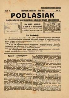 Podlasiak : tygodnik polityczno-społeczno-narodowy, poświęcony sprawom ludu podlaskiego R. 2 (1923) nr 5