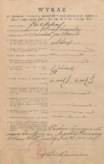 Wykaz do określenia uposażeń nauczycieli w myśl postanowień ustawy z dnia 9 października 1923 r.