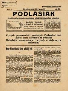 Podlasiak : tygodnik polityczno-społeczno-narodowy, poświęcony sprawom ludu podlaskiego R. 2 (1923) nr 14
