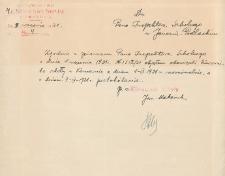 Pismo Jana Makaruka do Inspektora Szkolnego w Janowie Podlaskim o przyjęciu obowiązków kierownika szkoły w Komarnie z dn. 1 IX 1931 r.