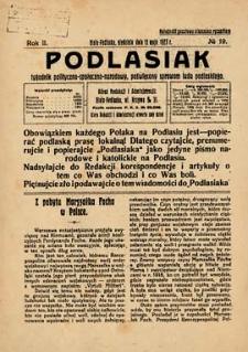 Podlasiak : tygodnik polityczno-społeczno-narodowy, poświęcony sprawom ludu podlaskiego R. 2 (1923) nr 19
