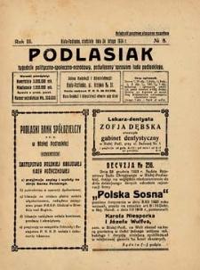Podlasiak : tygodnik polityczno-społeczno-narodowy, poświęcony sprawom ludu podlaskiego R. 3 (1924) nr 8