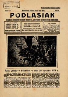 Podlasiak : tygodnik polityczno-społeczno-narodowy, poświęcony sprawom ludu podlaskiego R. 3 (1924) nr 21
