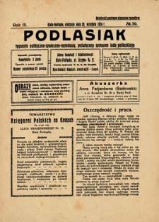 Podlasiak : tygodnik polityczno-społeczno-narodowy, poświęcony sprawom ludu podlaskiego R. 3 (1924) nr 39