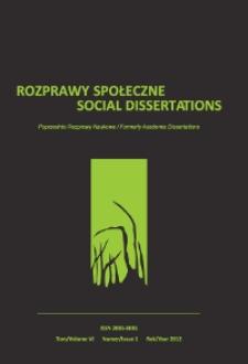 Rozprawy Społeczne = Social Dissertations T. 6, nr 1 (2012)