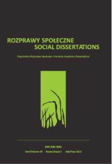 Rozprawy Społeczne = Social Dissertations T. 7, nr 2 (2013)