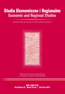Studia Ekonomiczne i Regionalne = Economic and Regional Studies T. 6, nr 1 (2013)