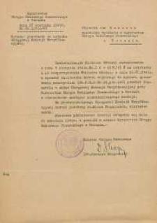Powołanie Jana Makaruka na członka Okręgowej Komisji Weryfikacyjnej przy Kuratorium Okręgu Szkolnego Pomorskiego w Toruniu