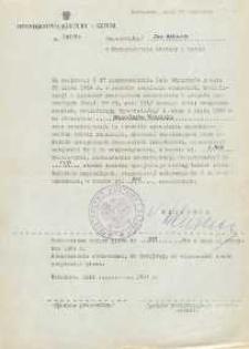 Pismo w sprawie zakwalifikowania Jana Makaruka na stanowisko Naczelnika Wydziału