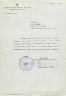 Pismo rozwiązujące umowę o pracę Jana Makaruka z Ministerstwem Kultury i Sztuki w związku z odejściem na emeryturę
